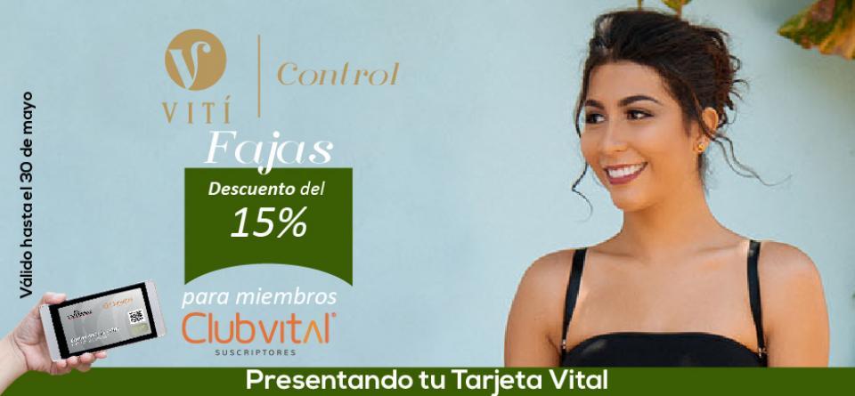 Promoción de 15% de descuento en fajas en Vití.